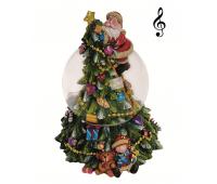"""Музыкальный снежный шар """"Дед Мороз и елка"""""""
