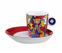 """Чашка с блюдцем для эспрессо """"Hug Too"""" от Pop Art Romero Britto"""