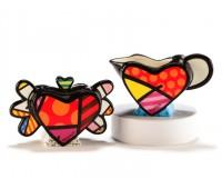 """Набор для сахара и сливок """"Flying hearts"""" в стиле поп-арт от художника Romero Britto"""