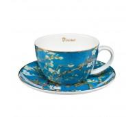 """Чашка с блюдцем Ван Гог """"Цветущие ветки миндаля"""" Goebel"""