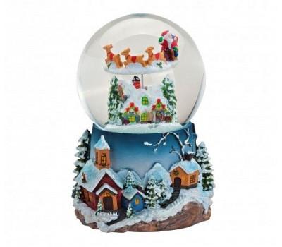 """Музыкальный снежный шар """"Дед мороз с оленями"""""""